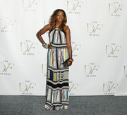 Estelle brought a boho vibe to the DVF Awards with this mixed-print maxi dress by Diane von Furstenberg.