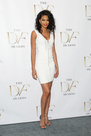 Chanel Iman looked svelte and statuesque at the DVF Awards in a body-con white zipper-front mini by Diane von Furstenberg.