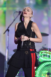Gwen Stefani performed at the Global Citizen Festival wearing a moto-chic black vest.