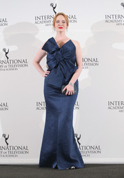 Christina Hendricks chose a flirty blue Paule Ka strapless gown with a massive bow adorning the bodice for the International Emmy Awards.