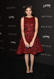 Jennifer Missoni exuded ultra-girly appeal in a floral brocade cocktail dress during the LACMA Art + Film Gala.