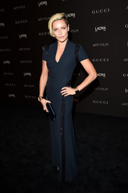 Rie Rasmussen was sporty-glam at the LACMA Art + Film Gala in a midnight-blue gown with beaded stripes down the sides.