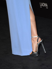Camilla Belle teetered on a sky-high pair of Gucci ankle-strap heels at the LACMA Art + Film Gala.