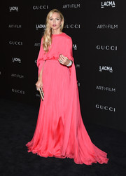 Rachel Zoe made a dramatic entrance at the LACMA Art + Film Gala in a vibrant pink Valentino gown.