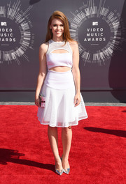 Holland Roden looked uber trendy in a midriff-baring mesh-overlay dress by Milly during the MTV VMAs.