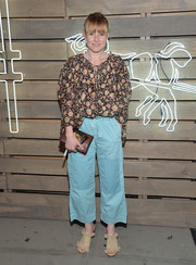 Amy Astley went for a boho feel in a floral peasant blouse during the Coach Summer Party.