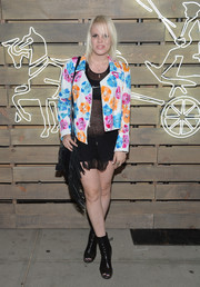 Becca Diamond avoided a too-racy look with this cute floral jacket when she attended the Coach Summer Party.