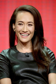 Maggie Q styled her hair with a deep side part and flippy ends for day 10 of the Summer TCA Tour.