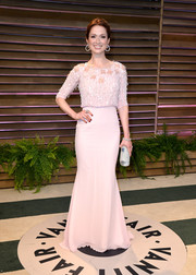 Ellie Kemper chose a nude Georges Hobeika gown with a sequined bodice for the Vanity Fair Oscar party.