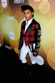 Janelle Monae looked flamboyant in a Fausto Puglisi plaid moto jacket with embellished leather sleeves at the Variety Breakthrough Awards.