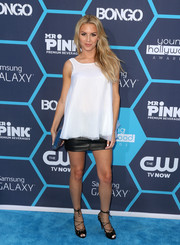 Morgan Stewart was girly-edgy in a fluid white top and a leather mini skirt at the Young Hollywood Awards.