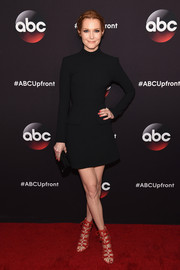 Darby Stanchfield chose a simple yet sophisticated high-neck, long-sleeve LBD by Rachel Zoe for the ABC Upfront event.