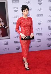 Sarah Silverman showed her elegant side in a red lace cocktail dress during the AFI Life Achievement Award Gala.