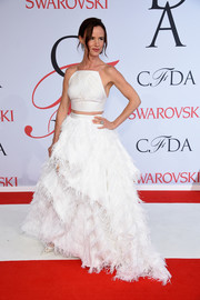 Juliette Lewis matched her fabulous skirt with a white spaghetti-strap crop-top, also by Christian Siriano.