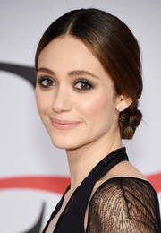 Emmy Rossum worked a vintage-style center-parted chignon at the CFDA Fashion Awards.