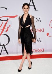 Emmy Rossum looked jaw-droppingly sexy in this Dion Lee cutout LBD during the CFDA Fashion Awards.