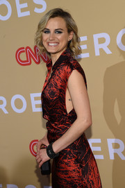 Taylor Schilling paired a beaded black bracelet with a print dress for the 2015 CNN Heroes Tribute.