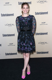 Anna Chlumsky kept it ladylike in a floral-embroidered cocktail dress at the Entertainment Weekly pre-Emmy party.
