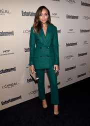 Ashley Madekwe looked very polished in her emerald-green Dior pantsuit at the Entertainment Weekly pre-Emmy party.