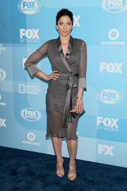 Chelsea Peretti polished off her flawless ensemble with a Treesje hard-case clutch.