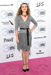 Joanna Newsom was a cutie in a black-and-white checkered wrap dress, punctuated with a heart choker, during the Film Independent Spirit Awards.