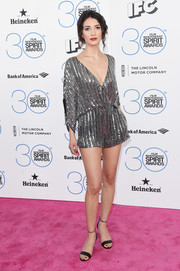 Sheila Vand looked playfully chic in a sequined Parker romper during the Film Independent Spirit Awards.