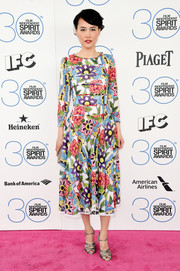 Rinko Kikuchi sported a Chanel floral dress that was a visual explosion on the Film Independent Spirit Awards pink carpet.