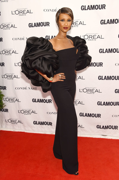 Iman stole the spotlight in a black Brandon Maxwell jumpsuit with massive puff sleeves during the Glamour Women of the Year Awards.