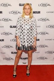 Ellie Goulding brought plenty of shimmer to the Glamour Awards red carpet with this sequined shift dress by Emanuel Ungaro.