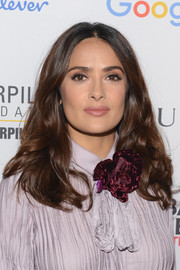 Salma Hayek styled her hair with bouncy curls for the Global Citizen Festival.