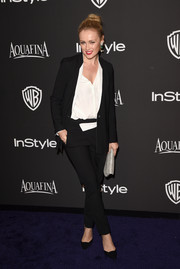 Hannah New opted for an edgy menswear-inspired look when she attended the InStyle and Warner Bros. Golden Globes party.