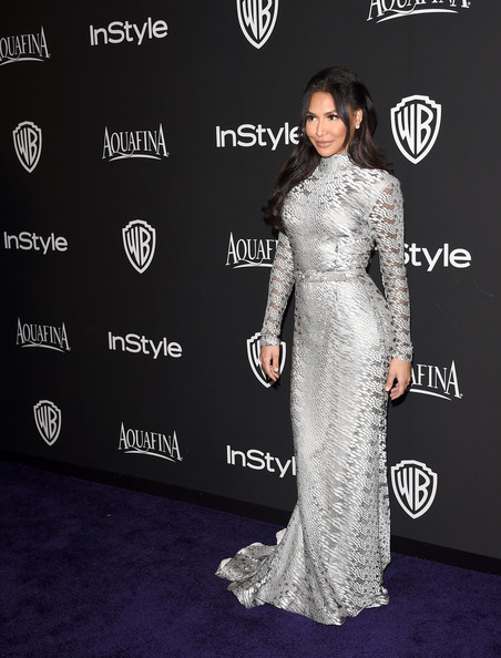 Naya Rivera was futuristic-chic in a long-sleeve, high-neck metallic silver gown by Christian Siriano at the InStyle and Warner Bros. Golden Globes party.
