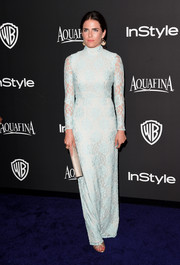 Karla Souza brought a pretty pop of pastel to the InStyle and Warner Bros. Golden Globes party with this blue lace gown.