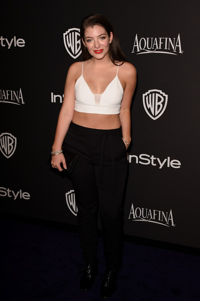 Lorde showed her more daring side with this white Narciso Rodriguez bralette at the InStyle and Warner Bros. Golden Globes party.