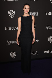 Katie Findlay was classic in a black lace column dress at the InStyle and Warner Bros. Golden Globes party.