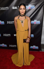 Vanessa Hudgens stuck to her usual boho style with this floor-sweeping mustard halter dress by Galia Lahav when she attended the Industry Dance Awards.