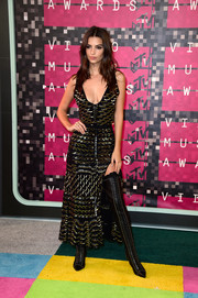 Emily Ratajkowski put on a busty display in this low-cut sequined top by Altuzarra at the MTV VMAs.
