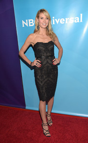 Heidi Klum looked ageless in a strapless lace LBD by Marchesa during the NBCUniversal Summer Press Day.