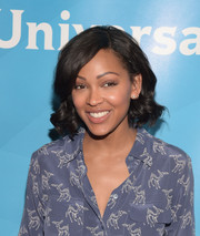 Meagan Good wore her hair in a curly bob at the 2015 NBCUniversal Summer Press Day.