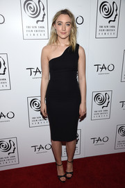 Saoirse Ronan paired her LBD with Sophia Webster Belle Crystal Platform heels to complete her outfit.