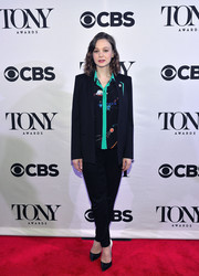 Carey Mulligan was all business in a black Vionnet pantsuit during the Tony Award nominees meet-and-greet event.