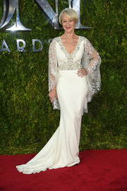 Helen Mirren looked as regal as ever at the Tony Awards in a white Badgley Mishcka gown with lace flutter sleeves.