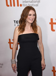 Julianne Moore styled her simple jumpsuit with a stunner of a bracelet for the TIFF premiere of 'Freeheld.'