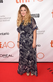 Drew Barrymore donned a navy leaf-print maxi dress for the TIFF premiere of 'Miss You Already.'