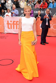 Toni Collette kept it minimal up top in this sleeveless white Oscar de la Renta number during the TIFF premiere of 'Miss You Already.'