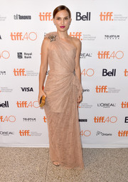 Natalie Portman was a classic beauty at the TIFF premiere of 'A Tale of Love and Darkness' in a nude lace one-shoulder gown by Lanvin.