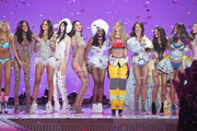 Models  Rachel Hilbert, Cindy Bruna, Izabel Goulart, Sui He, Barbara Fialho, Sharam Diniz, Gigi Hadid, Flavia Lucini, Bruna Lirio, and Pauline Hoarau walk the runway during the 2015 Victoria's Secret Fashion Show at Lexington Avenue Armory on November 10, 2015 in New York City.