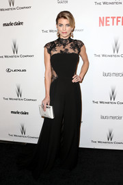 AnnaLynne McCord looked tres chic in a black lace-panel jumpsuit at the Weinstein Company and Netflix Golden Globes party.