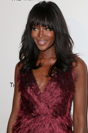 Naomi Campbell was gorgeously coiffed with feathered waves and eye-grazing bangs at the Weinstein Company and Netflix Golden Globes party.