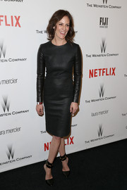 Annabeth Gish was a leather-clad beauty at the Weinstein Company and Netflix Golden Globes party.